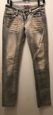 Akademiks Ladies Jeans Faded Grey/Bleached Size 26 waist 34 inseam