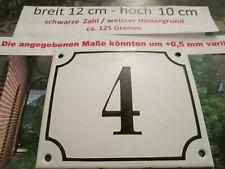 Hausnummer Emaille Nr. 4 schwarze Zahl auf weißem Hintergrund 12 cm x 10 cm