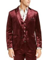 INC Men's Slim-Fit Shiny Velvet Blazer Suit Jacket, Maroon, Size XL, $150, NwT