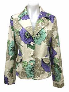 Ann Taylor LOFT Women's Size 8 Floral Button Pocket Blazer Jacket Stretch