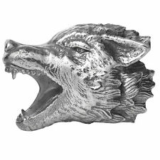 rebeligion Negro Rock Large Lobo Cabeza Para Pulsera de cuero 150120871001 PLATA