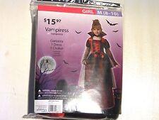 Girl Child Medium 8-10 Red and Black Classic Vampire Vampiress Costume Halloween