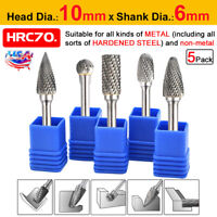 5 Pcs 1/4'' Tungsten Carbide Rotary Point Burr Die Grinder Shank Drill Bits Sets