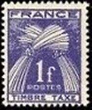 "FRANCE STAMP TIMBRE TAXE YVERT 81 "" GERBES 1F BLEU-VIOLET "" NEUF x TB"