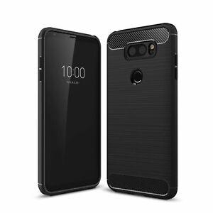 LG V30 TPU Case Carbon Fiber Optik Brushed Motiv Schutz Hülle Bumper Schwarz Neu