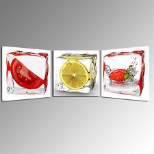 Home Decor Fruits Lemon Kitchen Oil Painting Art Wall Canvas Prints Modern 3Pcs