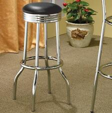 Retro Chrome Swivel Bar Stool with Black Cushions by Coaster 2408 - Set of 2