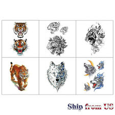 6 Sheets Colorful Temporary Tattoo Stickers Arm Leg & Chest Body Art Tiger Wolf