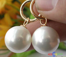 16MM WHITE ROUND SOUTH SEA SHELL PEARL DANGLE EARRING