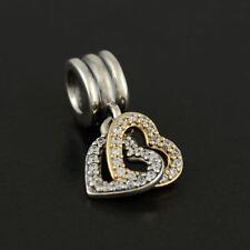 Authentic Pandora Silver & 14K Gold Interlocked Hearts Dangle Charm 792068CZ