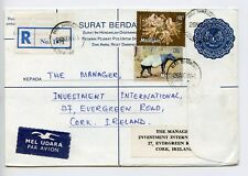 Malaysia 1981 postal stationery registered envelope letter to Irelan (R731)
