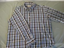 SOUTHERN PINES LONG SLEEVE SHIRT BROWN BLUE PLAID MEN'S 2 XL NICE!