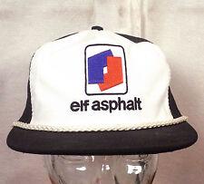 vtg 80s Elf Asphalt black/white mesh back Trucker Hat Cap Snapback punk indie
