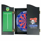 49656 NEWCASTLE KNIGHTS NRL LOGO BRISTLE DARTBOARD & WOODEN CABINET DART BOARD