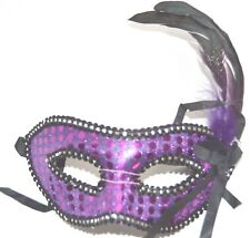 NEW Purple sequin and feather Masquerade Mask Eye Prom Gothic halloween