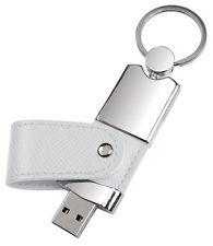 PENDRIVE USB 8 GB in METALLO e PELLE BIANCA PERSONALIZZATA con INCISIONE!!!