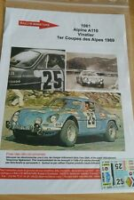 DECALS 1/43 REF1061 ALPINE RENAULT A110 VINATIER RALLYE COUPE DES ALPES 1969
