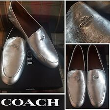 NWT $225 Coach Hallie Loafers Flats Shoes Silver Metallic Leather +Coach Box 8.5