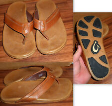 MENS OLUKAI HIAPO BROWN LEATHER FLIP FLOPS SANDALS SIZE 10