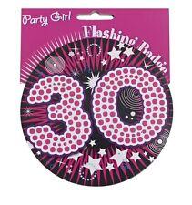Pink 30th Birthday Jumbo Flashing Party Badge Age 30 Big Badges Birthdays
