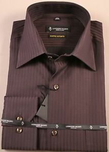 Mens Dress Shirt Brown Color,  100% Cotton Reg. Cuff   Made In Italy