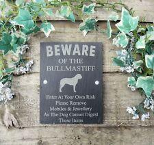 Umoristico diffidare degli BULLMASTIFF DOG Slate Porta Cancello Placca Segno