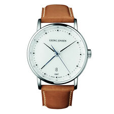 Georg Jensen Men's 41mm Dual Time Watch # 519 - White Dial - KOPPEL -