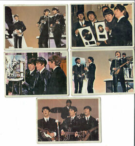 5 card Lot- The Beatles Diary US Original Topps 1960's Color Bubble Gum Card