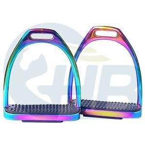 "Rainbow Stirrups Fillis Stainless Steel Stirrups Equestrian Stirrups 4.75"""