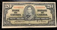 RARE! 1937 $20 BANK OF CANADA OSBOURNE-TOWERS A/E - V.F Cond!