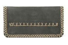 More details for tobacco pouch rizla slot pouch soft real leather magnetic black gift packed