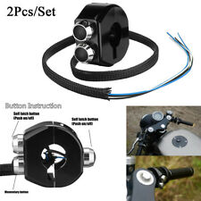 2x Black CNC ATV Motorcycle Handlebar Switch 3 Buttons Self Latch & Momentary