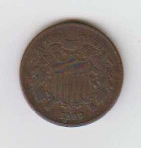 A1037 : 1869 Deux Centimes Pièce, Vg-F