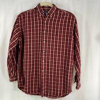 Polo Ralph Lauren Mens Long Sleeve Button Heavy Flannel Shirt Red Black Plaid M