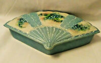 Trinket Box - Hand Painted & Signed- Porcelain - Blue Floral Fan -Country French