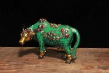 "6"" Old Tibet Buddhism Bronze Inlay Turquoise Gem Animal Ox Bull Cattle Statue"