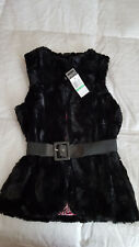 Nwt Beautees Girl's Faux Fur Belted Vest Sz. Large Black New