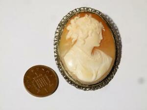 20thC Carved Real Shell Cameo Brooch Classical Lady, Silver Filigree Mount