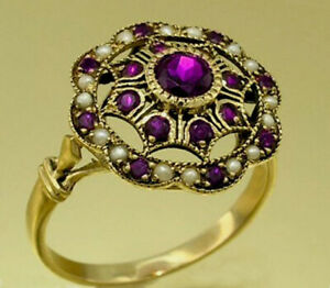 R289 Genuine 9ct, 10K, 18K Gold Natural Amethyst & Pearl Cluster Ring in yr size