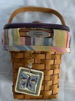 Longaberger 2006 Dresden Basket Combo Pastel Plaid Liner Tie on, Purple Wood Lid