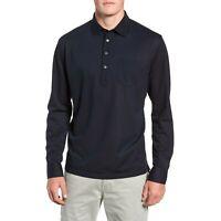 Peter Millar Avon Silk Blend L/S Polo Shirt Navy Blue Men's Size XL New $228