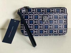 NEW! TOMMY HILFIGER BLACK BLUE WALLET CLUTCH POUCH WRISTLET BAG PURSE SALE