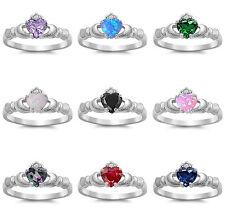 Celtic Claddagh Sterling Silver 925 Gemstone Ring Irish Symbol Love Friends Gift