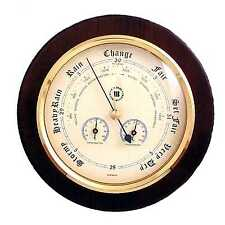 "Barometer with Thermometer and Hygrometer on 9"" Cherry Wood with Brass Bezel."