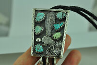 Large 925 Sterling Silver Native Warrior Buffalo Genuine Turquoise Bolo Tie
