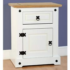 Seconique CORONA White Bedside Cabinet With 1 Drawer and Door Whpbf036wht
