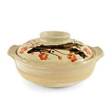 "Japanese 11.5"" Earthenware Donabe Pot Lid Casserole Cherry Blossom Made In Japan"