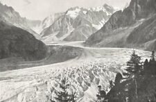 HAUTE- SAVOIE. La Mer de Glace Vue du Montanvers 1900 old antique print
