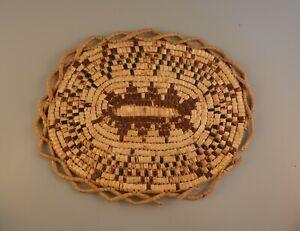 Vintage Frasier Thompson River Salish Indian Plaque Basket - Imbricated Design