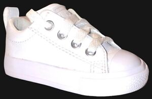 Converse All Star Chuck Taylor Infant Toddler White Leather Shoes Size 4 P6